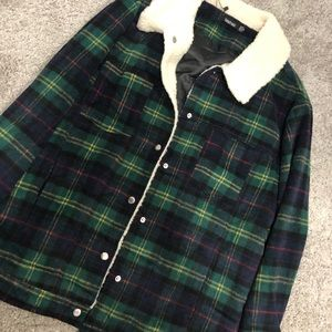 Over-sized Green Check Trucker Jacket [ Boohoo ]